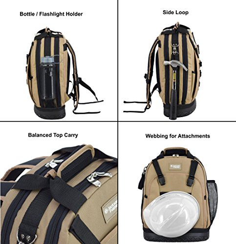 Jackson Palmer Professional Tool Backpack, Comfort-Design with Optimized Pockets (Carpenters Tool Bag with Rubber Base) by Jackson Palmer (Image #5)