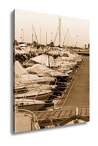 Ashley Canvas Boats Moored In Harbour Near Denia Spain, Wall Art Home Decor, Ready to Hang, Sepia, 20x16, AG6314662 by Ashley Canvas
