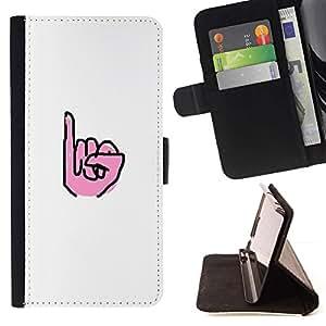 Momo Phone Case / Flip Funda de Cuero Case Cover - Mano Blanca Sordos sesión minimalista - Samsung Galaxy J3 GSM-J300