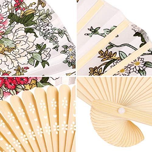 Viaje de mano Ventilador Globo de aire caliente sobre el campo de flores Con marco de bamb/ú Borla colgante y bolsa de tela Abanico plegable Abanico de mano Abanico Abanico Ventilador grande chino