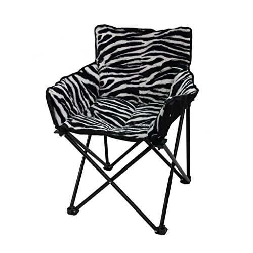 (YLYAB Moon Chair Leisure Camping Chair Without Cup Holder Steel Frame Folding Padded Portable (Color : Zebra))