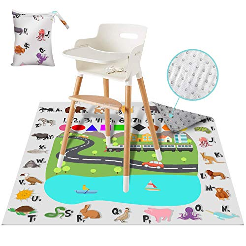 Splat Mat for Under High Chair for Baby & Kid – 51″ Washable, Waterproof, Portable Floor Mats with Storage Bag – Non-Slip, Durable Spill Mat For Feeding, Art &Crafts, Playtime, Picnic by ReignDropBaby