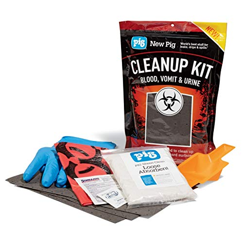 Biohazard Clean Up Kit by New Pig, Single Use - Includes PPE (Spill Kit Sticker)