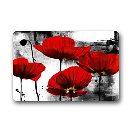 Fantastic Doormat Beautiful Red Poppy Flower Art Door Mat Rug  Indoor/Outdoor/Front Door