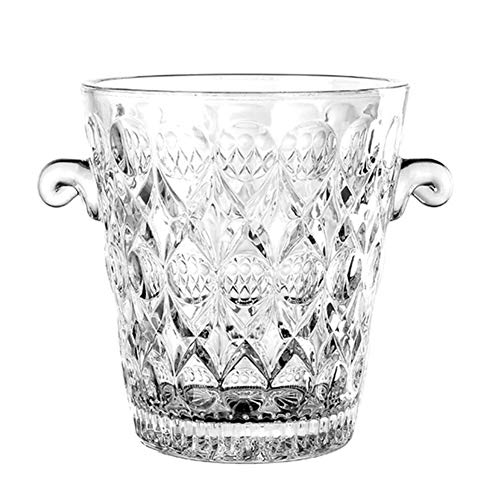 Glass Wine Ice Bucket, Portable Crystal Champagne Bucket Ice Cube Container Clear Wine Chiller Cooler Carry Handle Barware-Clear 14x15cm(6x6inch)