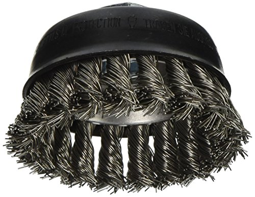 Bosch WB504 3-Inch Cup Brush, Knotted, Stainless Steel, 5/8-Inch x 11 Thread Arbor ()