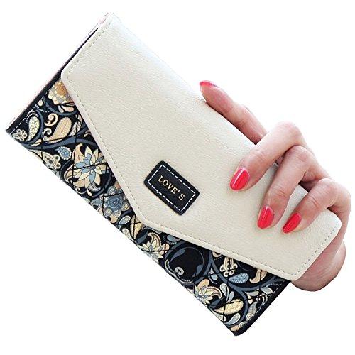 Women PU Leather Floral Print Shoulder Bag (Black) - 1