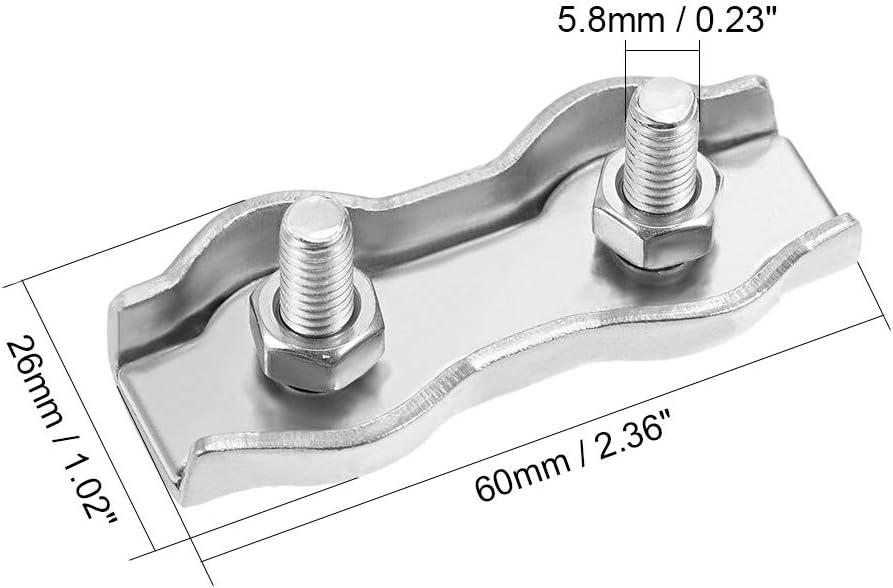 sourcing map 4Pcs 304 Acier inoxydable Clip C/âble duplex serre-c/âble 1mm-1.5mm corde