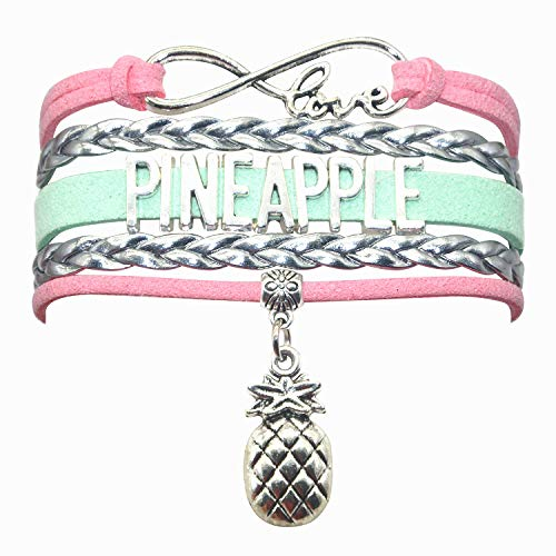 (HHHbeauty Pineapple Bracelet Jewelry Leather Infinity Love Pineapple Gifts Pineapple Jewelry Bracelet Gifts for Women, Girls, Men, Boys, Pineapple Themed Gifts (Pink Silver and Mint Green))
