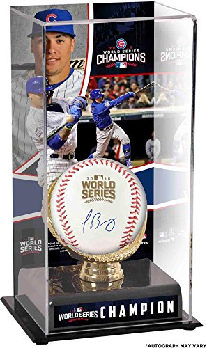 Javier Baez Chicago Cubs 2016 MLB World Series Champions Autographed World Series Logo Baseball and Baseball Display Case with Image - Fanatics Authentic Certified (Mlb Cubs Autographed Baseball)