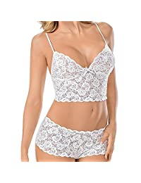 Shuohu Lace Underwear, Sexy Women's Push-up Padded Nightwear Bra Set