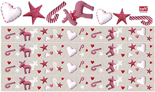 - Christmas Poster-Sticker Wall-Tattoo - Repositionable Border with Reindeers, Stars, Hearts and Candy Canes (189 x 5 inches)