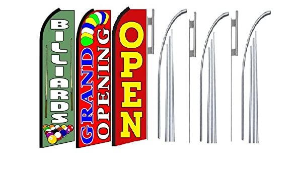 Pack of 3 Grand Opening King Swooper Feather Flag Sign Kit With Pole and Ground Spike