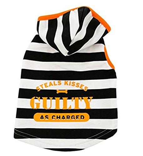 Steals Kisses Guilty As Charged Prisoner Hoodie Dog Pet Costume (Medium) ()