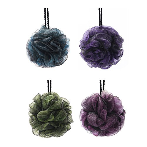 Loofah Bath Sponge Swirl Set 4 Packs (65g each) by Shower Bouquet, Large Mesh Exfoliating Shower Pouf(Energetic color), Full Lather Cleanse, Soothe Skin with Luxurious Bathing Accessories