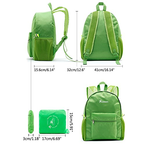 Backpack Lamdoo Hot Daypack Camping Foldable Nylon Bag Portable Travel Green Sports pink Lightweight HAX1xqgAwU