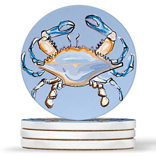 AK Wall Art Blue Crab Artistic Design - Round Coasters, Natural Sandstone - Set of 4 ()
