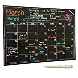 Magnetic Chalkboard Calendar - Smart Dry Erase Board For Your Refrigerator, Kitchen & Office. Stylish Black Monthly Design Planner For All Your Kids Activities + 1 White Liquid Chalk Marker (16''x12'')
