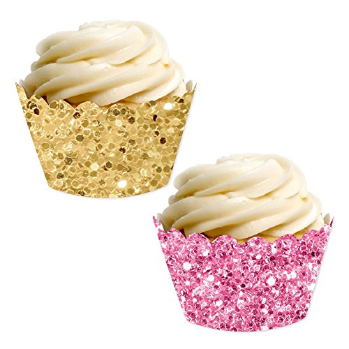 Glitter Cupcake Wrappers - Andaz Press Party Cupcake Wrapper Decorations, Faux Pink and Gold Glitter, 24-Pack, Theme Colored Bulk Cake Supplies