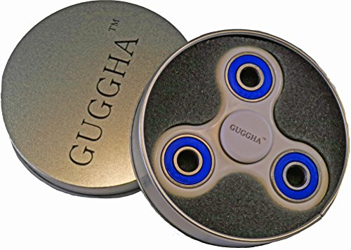 Spinner Fidget Toy Hybrid Ceramic Bearing for Kids & Adults by GUGGHA (White + Blue)
