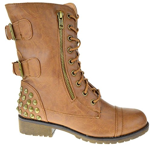 Rider 83 Womens Military Lace up Studded Combat Boot