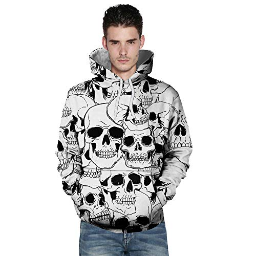 kaifongfu Long Sleeve Sweatshirt,Autumn Winter Mens Autumn Winter 3D Printing Hoodies Blouse(White,XL) -