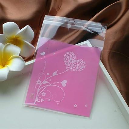 100 piezas de flor rosa fiesta galletas galletas bolsas ...