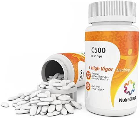 NutraBlast Vitamin C 500Mg with Rose Hips, Rutin Powder, and Citrus Bioflavonoid Complex - Supports Immune System, Eye, Skin, and Hair Health - Made in USA (50 Coated Tablets)