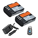 Amsahr S-DLI90-2CT Digital Replacement Battery Plus Travel Charger for Pentax D-LI90, K5, K5II with Lens Accessories Pouch, Pack of 2 (Gray)