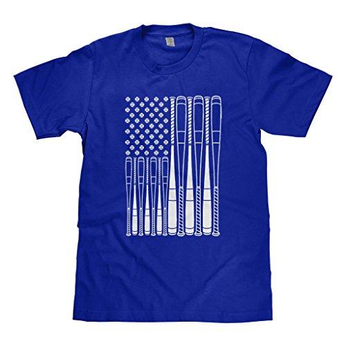 - Mixtbrand Big Boys' Baseballs and Bats American Flag Youth T-Shirt M Royal