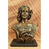 Museum Quality 100% Real Bronze Female Bust Sculpture Marble Base Statue