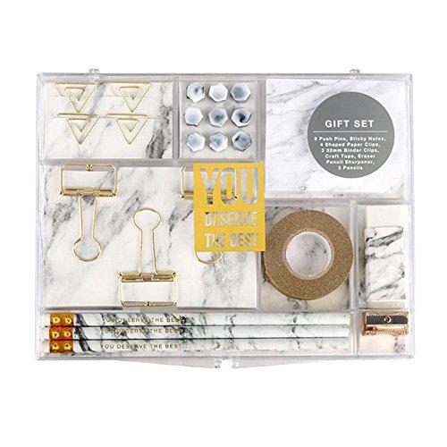(MultiBey Stationery Gift Set Marble White Students Stationery Gift Kit, Set of 24 pcs)