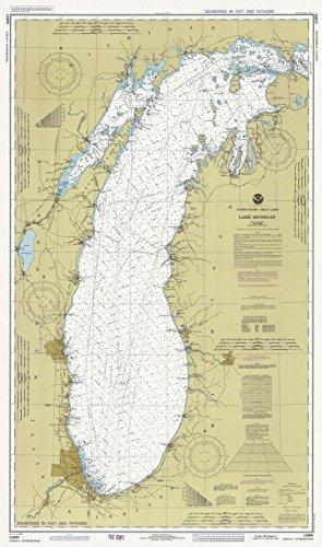 Map | Lake Michigan, 1982 Nautical NOAA Chart | Wisconsin, Illinois, Michigan, Indiana (WI, IL, MI, IN) | Vintage Wall Art | 16in x 24in