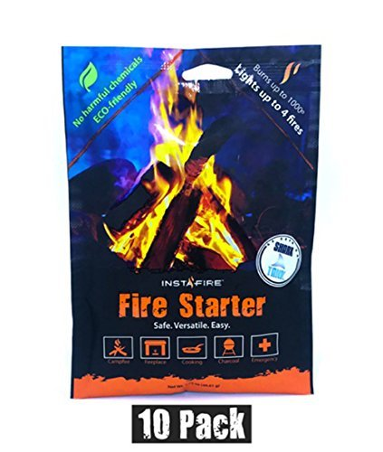 Instafire 10 Pack Fire Starter, Awarded 2017 FIRE Starter of The Year - All Natural, No Harmful Chemicals, Burns up to 1000º for Over 10 min. in virtually Any Condition, Lights up to 40 Total Fires by Instafire
