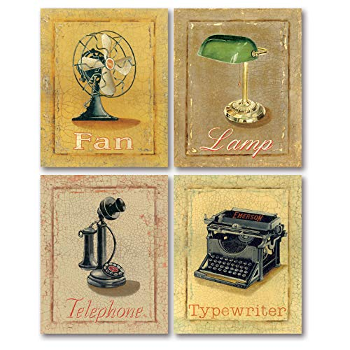 PosterArtNow Classic Old-Fashioned 50's Office Emerson Typewriter, Candlestick Telephone, Desk Lamp, Fan; Four 11X14in Prints