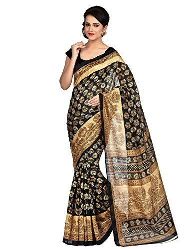 Jaanvi Fashion Designer Black Bhagalpuri Silk Printed Saree