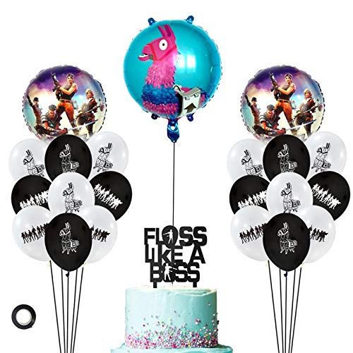 Decembre Video Game Party Supplies Includes Cake Topper - 18 Latex Baloons - 3 Foils Baloons Perfect Gamer Birthday Decorations Favors for Kids. (Black) ()