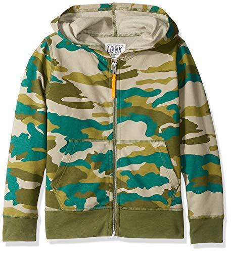 Childrens Camo Fleece Sweatshirt - LOOK by Crewcuts Boys' Zip Front Hoodie, Camo, Small (6/7)
