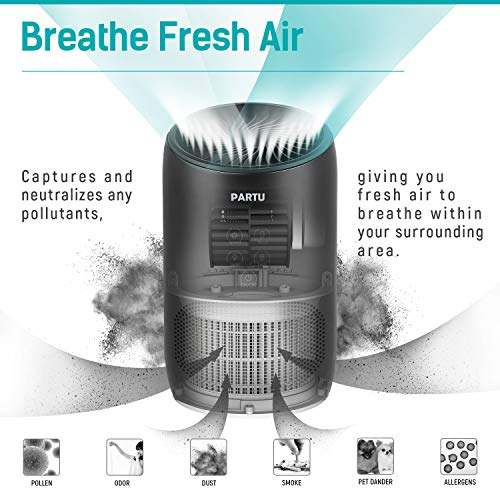 PARTU HEPA Air Purifier - Smoke Air Purifiers for Home with Fragrance Sponge - 100% Ozone Free, Lock Set, Eliminates Smoke, Dust, Pollen, Pet Dander, (Available for California)