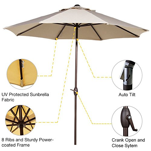 Abba Patio Sunbrella Patio Umbrella 9 Feet Outdoor Market Table Umbrella with Auto Tilt and Crank, Beige by Abba Patio (Image #2)