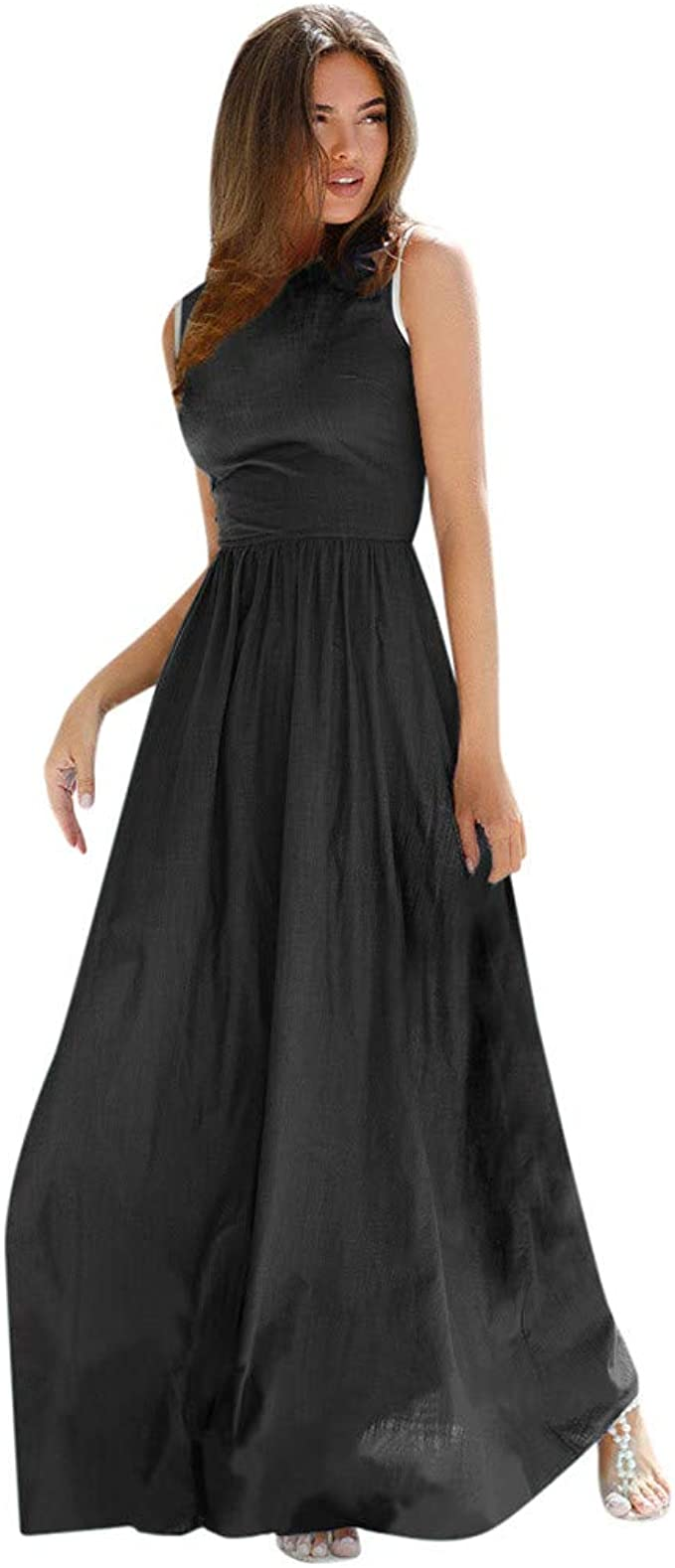AMhomely Womens Casual Sling Dresses Chiffon Bohemian Sleeveless Knee Length Dress Party Dress Party Elegant Dress Ladies Work Dresses Clubbing Dresses Evening Gowns Summer Dresses