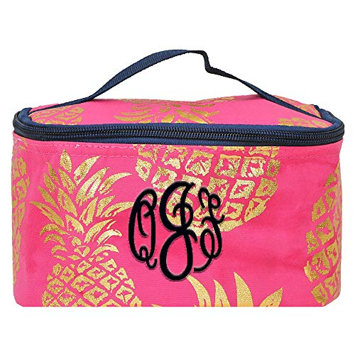 Personalized Small Cosmetic Makup Bags for the Girl on the Go (Pink Pineapple) by LD Bags