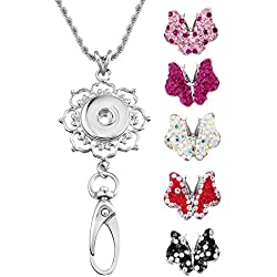 Souarts Womens Office Lanyard ID Badges Holder Necklace with 5pcs Butterfly Snap Charms Jewelry Pendant Clip