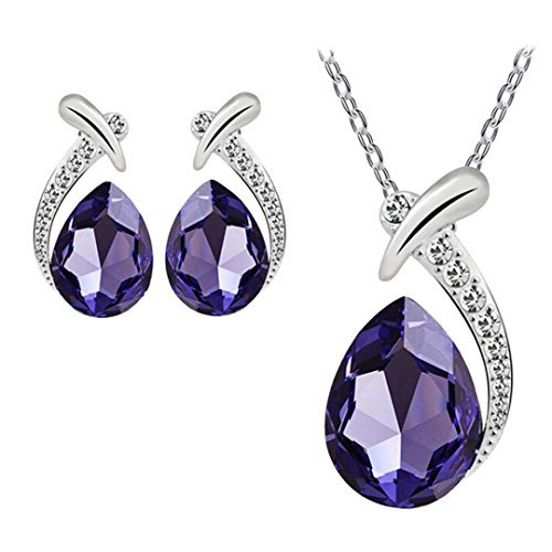 bestpriceam Women Crystal Pendant Silver Plated Chain Necklace Stud Earring Jewelry Set (Purple) -