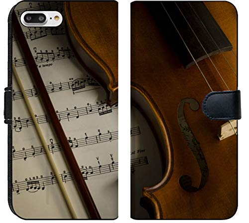Luxlady iPhone 8 Plus Flip Fabric Wallet Case Image ID: 24323629 time to Practice Violin Violin with Sheet Music on Vintage Style
