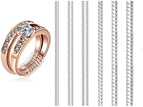 Ring Size Adjuster for Loose Rings, Jewelry Tightener Resizer Transparent Silicone Guard Snuggies 6 Sizes Fit Almost Any Rings