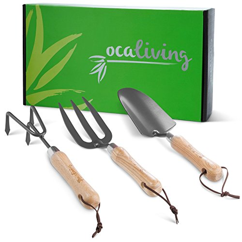 Beautiful 3-Piece Garden Hand Tool Set - Gardening and Planting Kit Essentials - Sharp, Steel Planter Accessories with Ergonomic Wood Handles by OCALiving