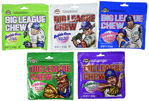 Big League Chew Bubble Gum Variety Pack 5 Flavors (Pack of 10) -