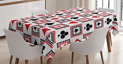 Ambesonne Casino Decorations Tablecloth, Icons of Playings Cards Symmetrical Geometric Repeating Ornamental, Dining Room Kitchen Rectangular Table Cover, 60 X 84 Inches, Scarlet Black]()