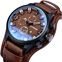 Zeiger New Mens Fashion Causal Analog Watch Leather Band with Black Dial ( Black and Brown) (Brown)